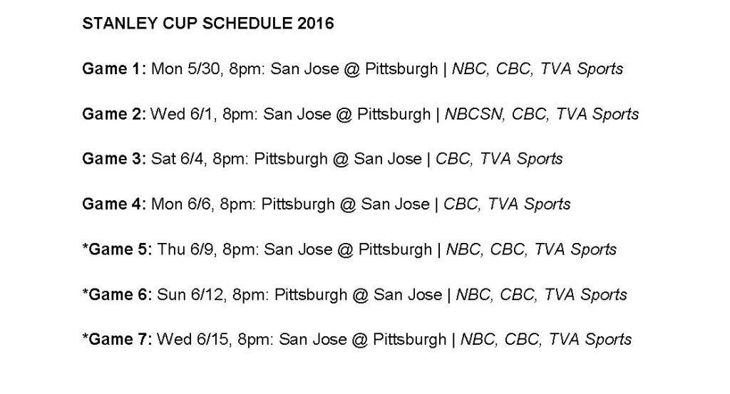 Stanley Cup Schedule 2016