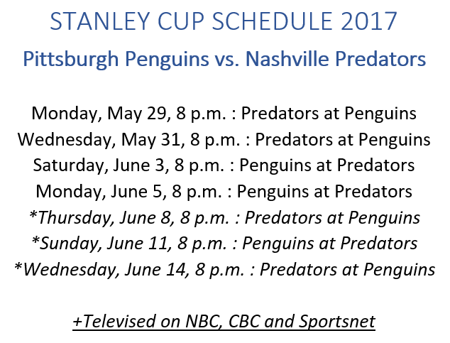 Stanley Cup Schedule 2017